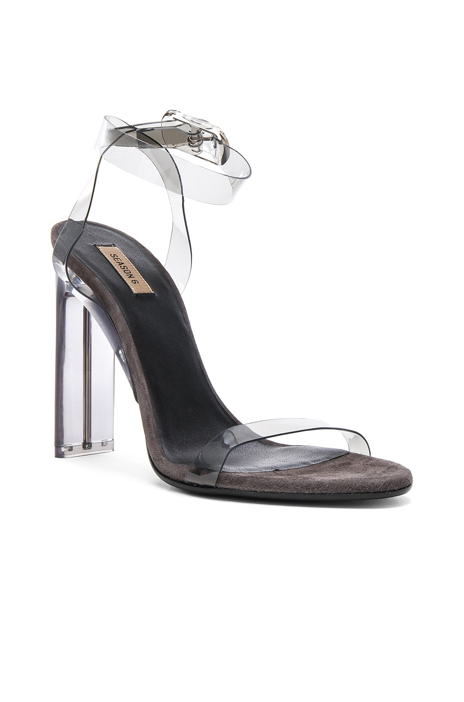 Image 2 of YEEZY Season 6 PVC Sandals with Ankle Strap in Smoke