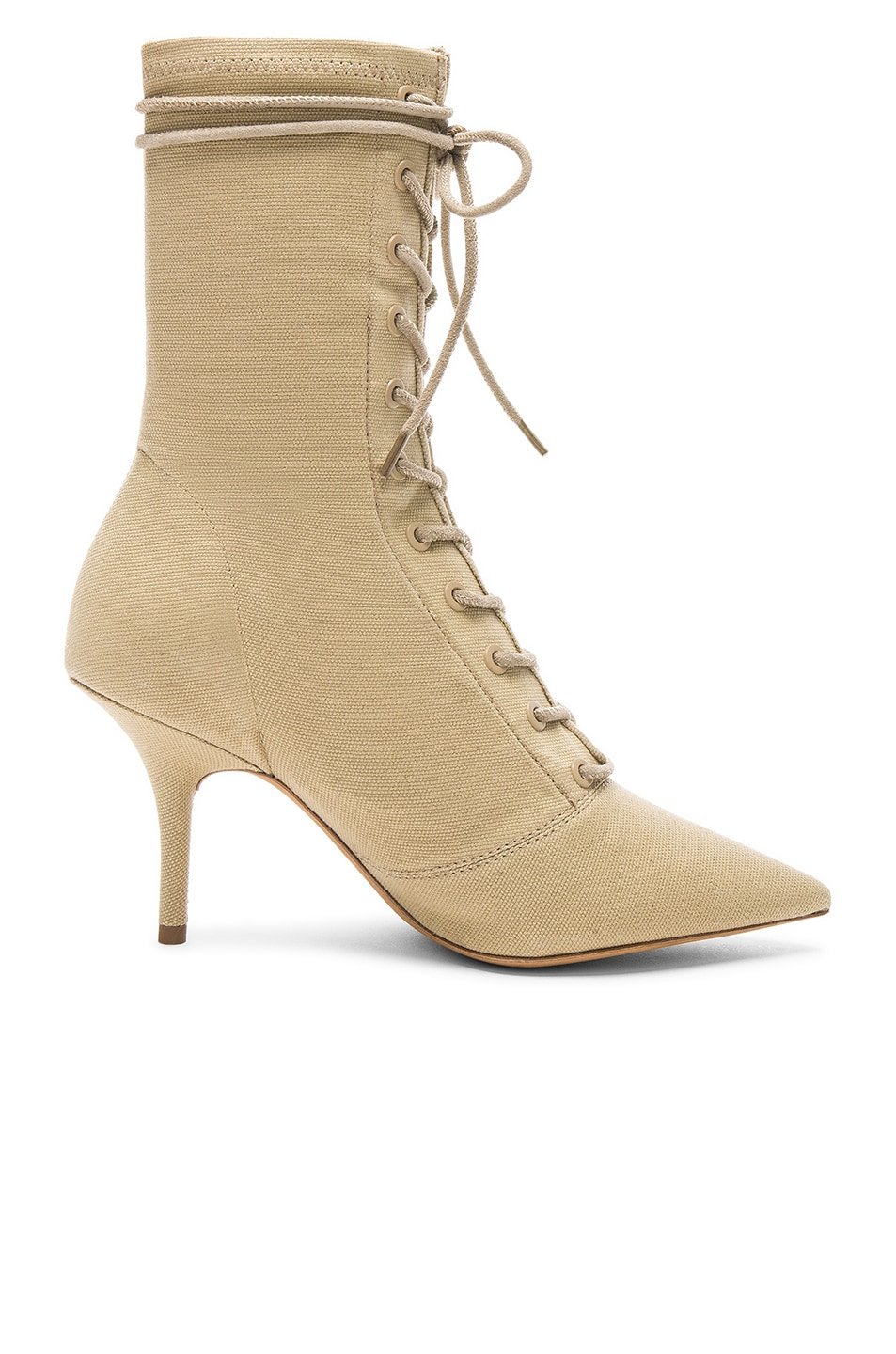 41ce6c1ac96d6 Image 1 of YEEZY Season 6 Stretch Canvas Lace Up Ankle Boot in Military  Light