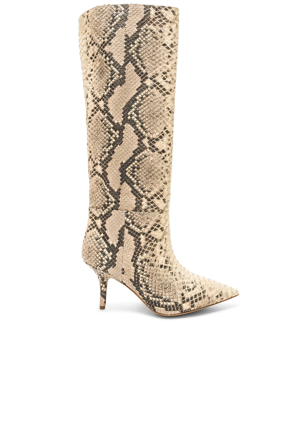 Image 1 of YEEZY Season 7 Python Embossed Knee High Boots in Roccia Mesa