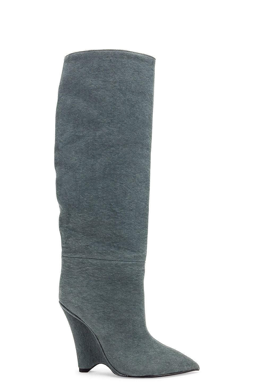 Image 1 of YEEZY Season 8 Wedge Knee High Boot in Balsam Green