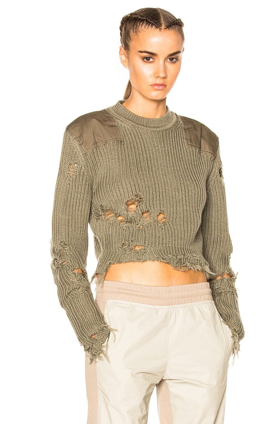 Image 1 of YEEZY Season 3 Destroyed Crop Military Rib Sweater with Patches in Forest