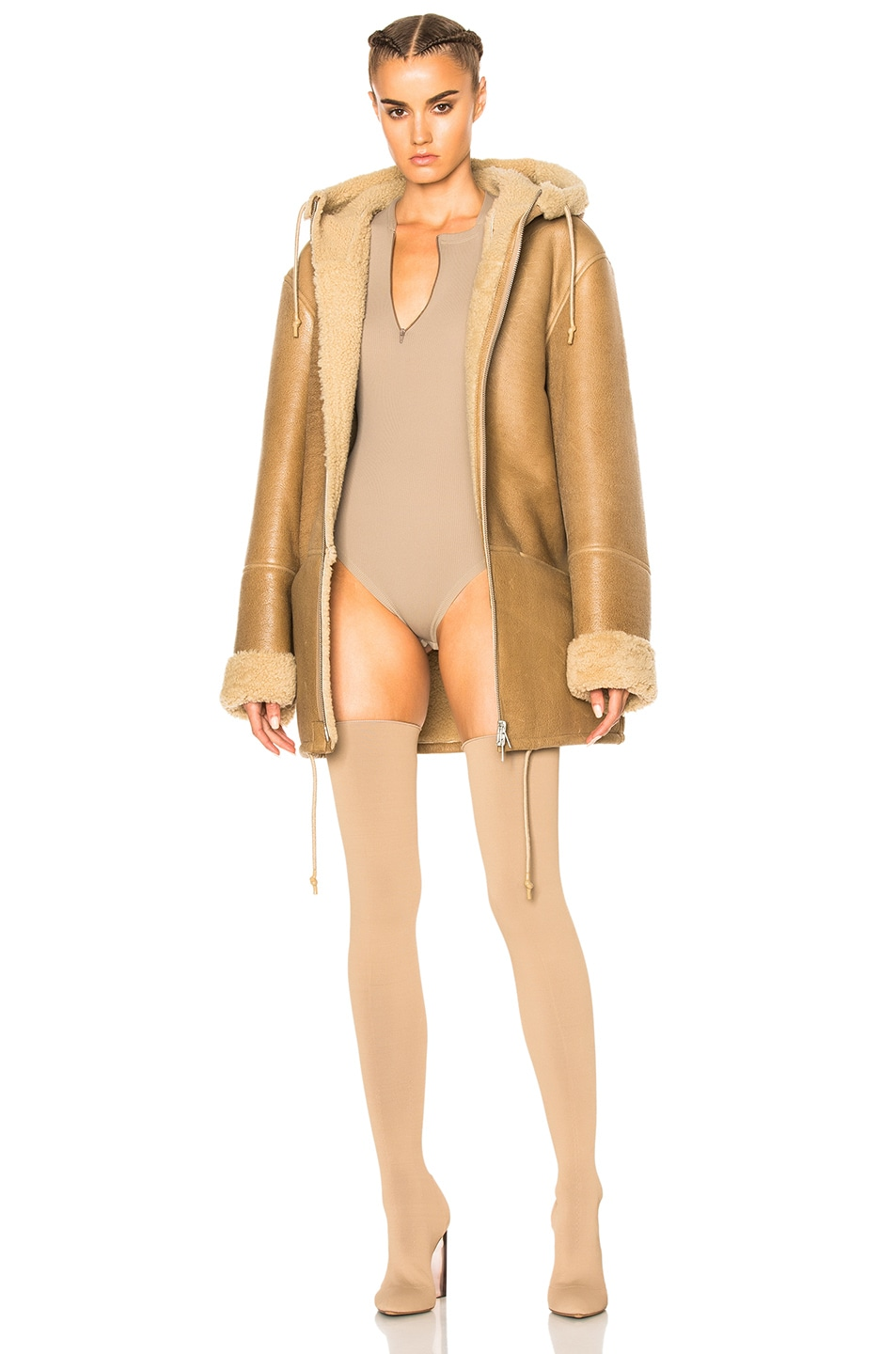 Image 1 of YEEZY Season 3 Hooded Lamb Shearling Jacket in Natural