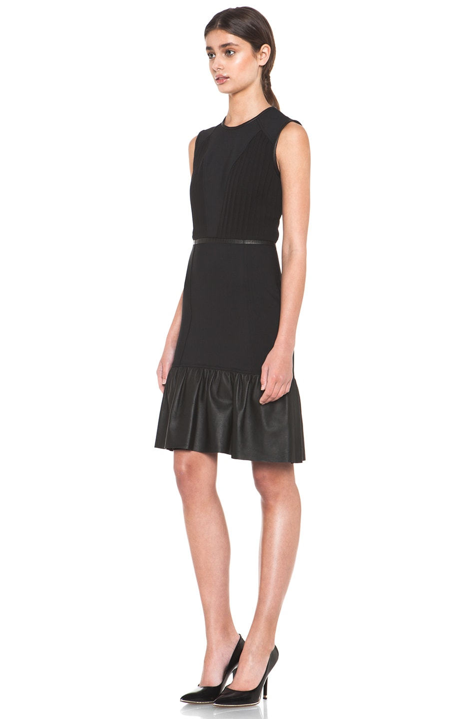 Image 2 of Yigal Azrouel Crepe Woven Dress with Leather in Jet