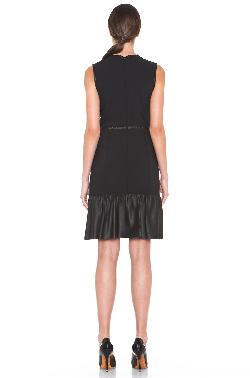 Image 4 of Yigal Azrouel Crepe Woven Dress with Leather in Jet