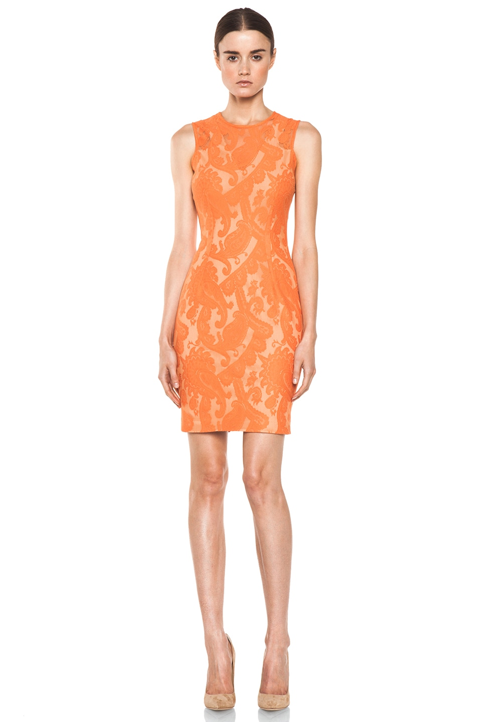Image 1 of Yigal Azrouel Paisley Lace Dress in Nectar