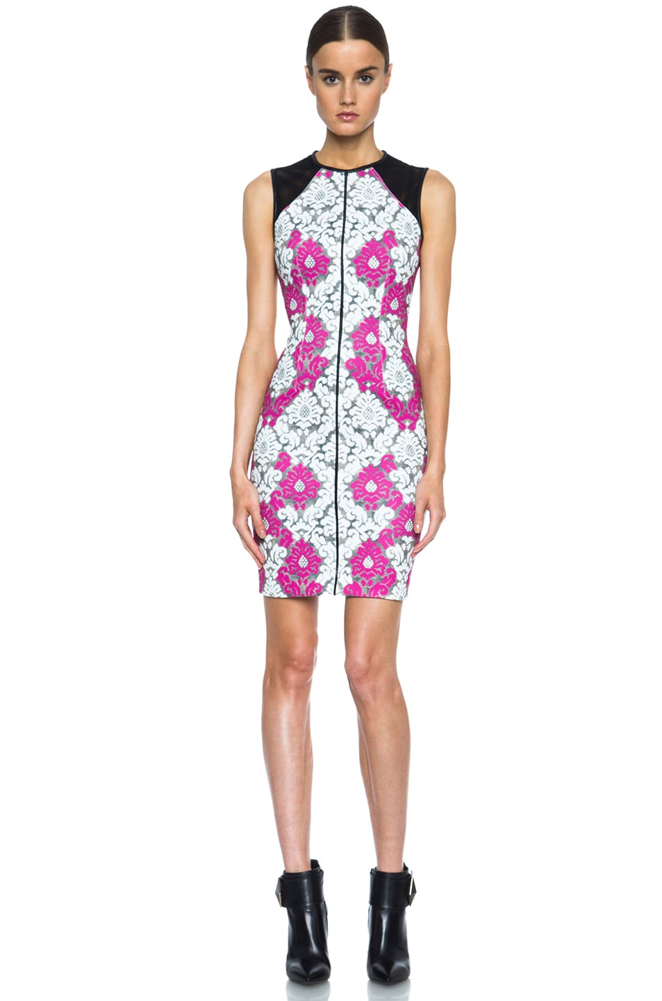 Image 1 of Yigal Azrouel Baroque Scuba Dress in White, Grey & Deep Pink