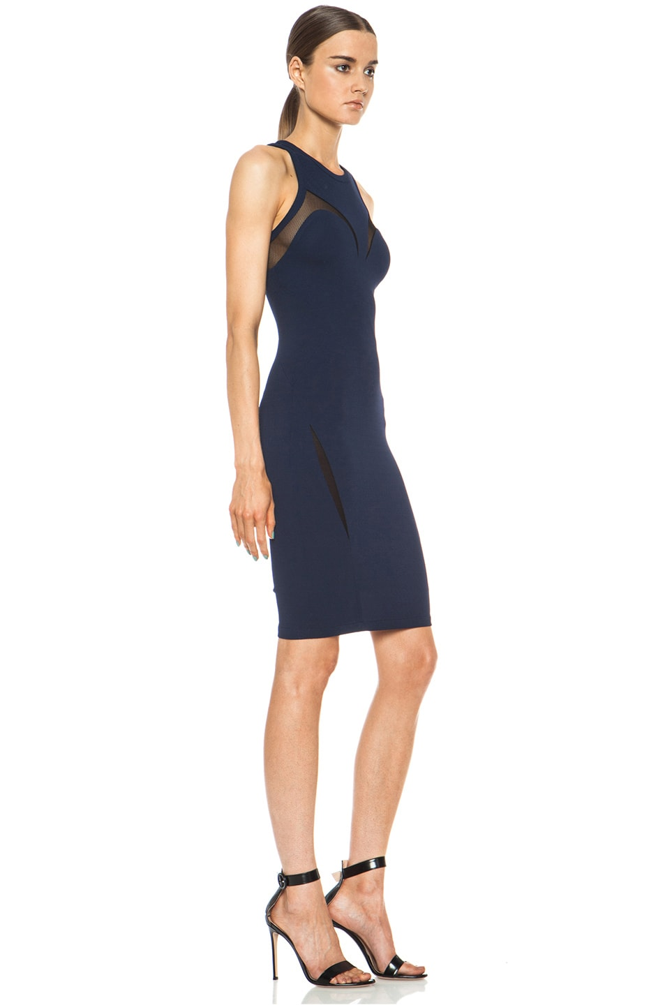 Image 3 of Yigal Azrouel Mesh Combo Viscose-Blend Dress in Mystic