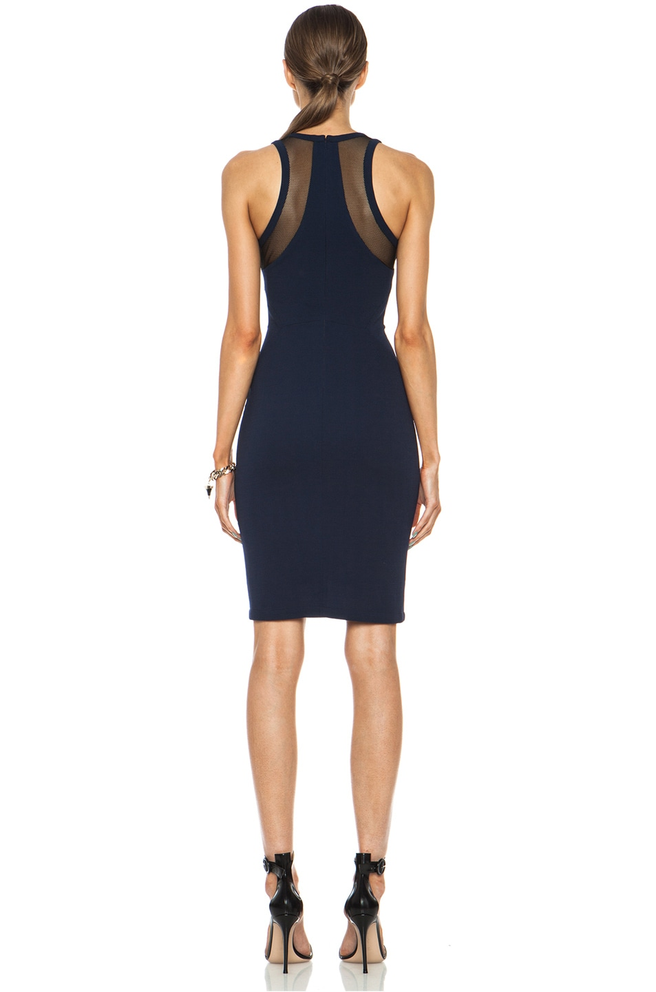 Image 4 of Yigal Azrouel Mesh Combo Viscose-Blend Dress in Mystic