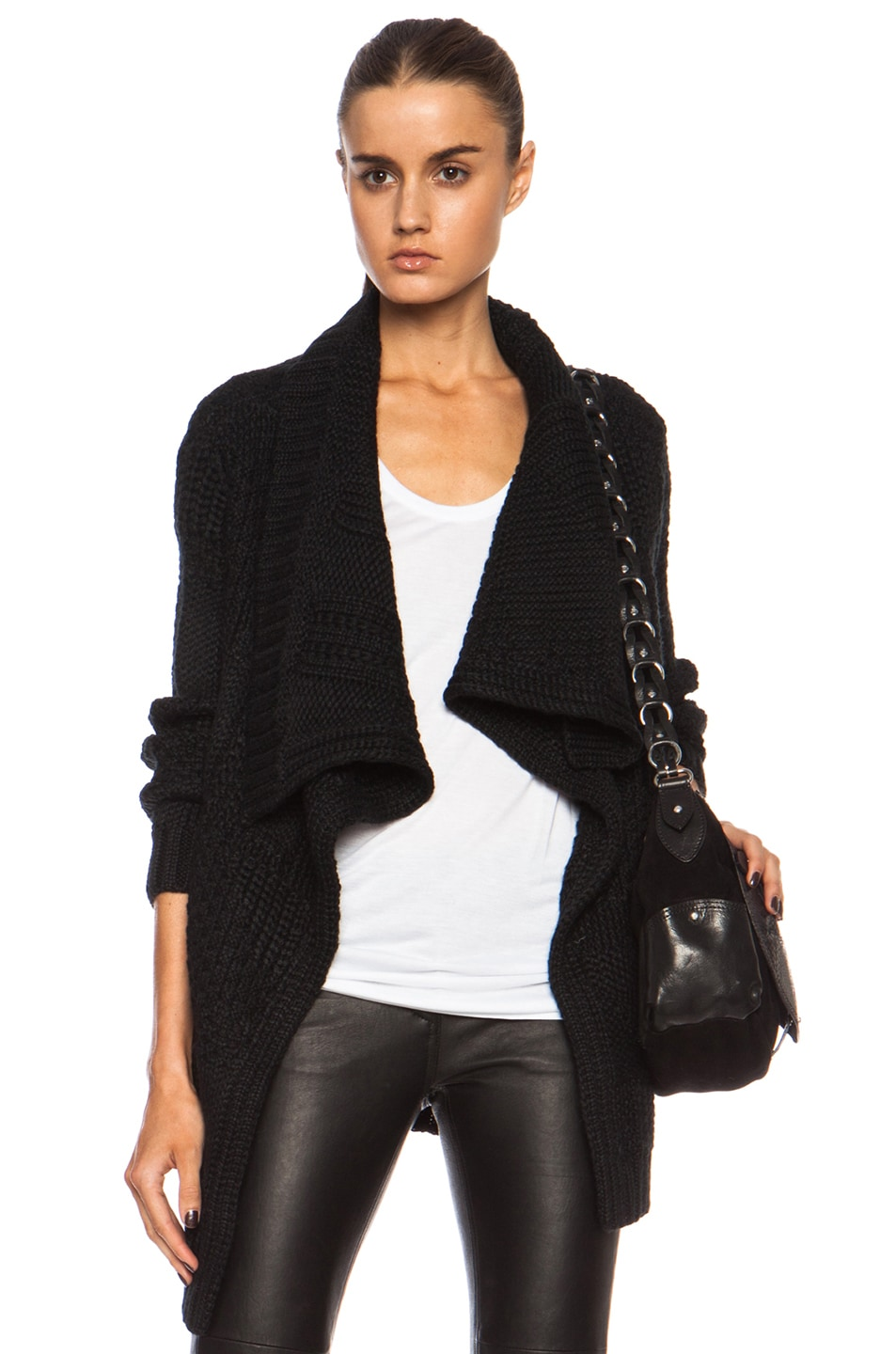Image 1 of Yigal Azrouel Graphic Texture Alpaca-Blend Cardigan in Jet Black