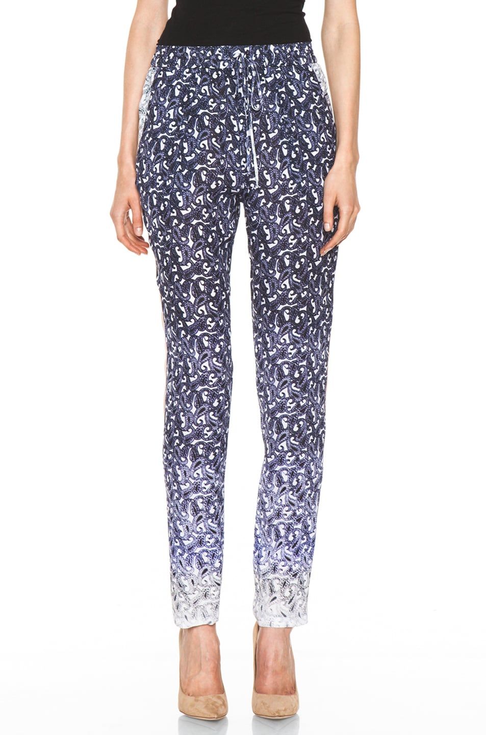 Image 1 of Yigal Azrouel Ombre Paisley Silk Georgette Pant in Night Multi