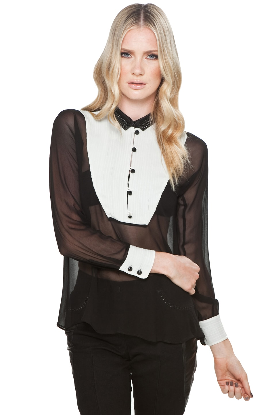 Image 1 of Yigal Azrouel Tux Front Blouse in Jet & Optic