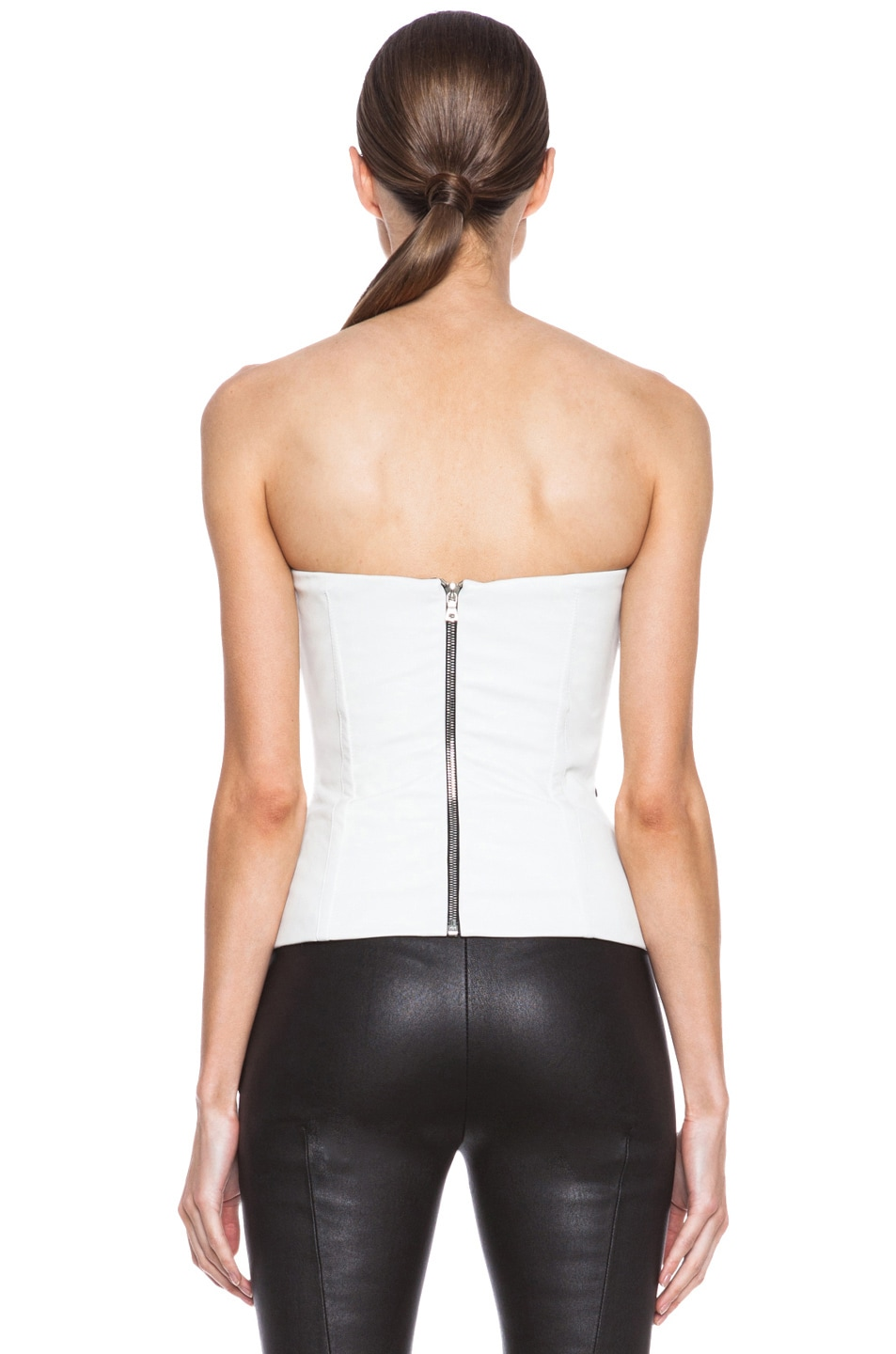 5879c8284f2 Yigal Azrouel Reptile Leather Bustier in Jet & Optic | FWRD