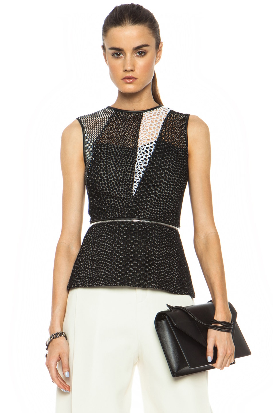 Image 1 of Yigal Azrouel Mesh Cotton-Blend Eyelet Combo Top in Jet Black