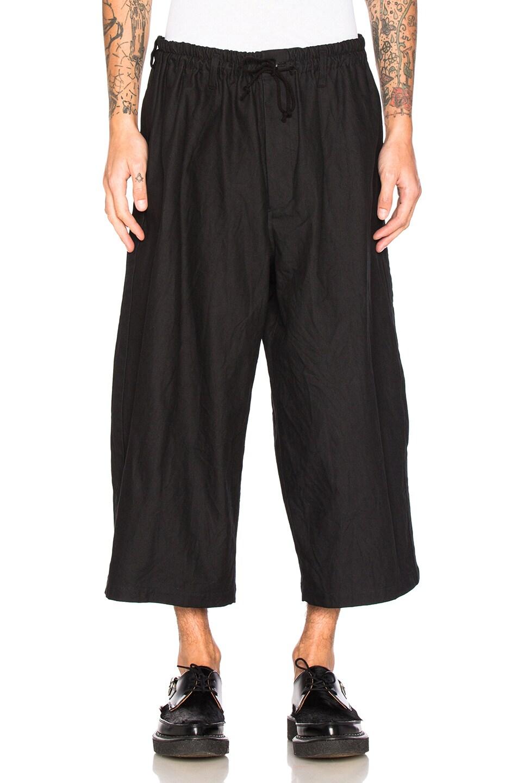 Image 1 of Yohji Yamamoto Side Tape Wide Elastic Trousers in Black