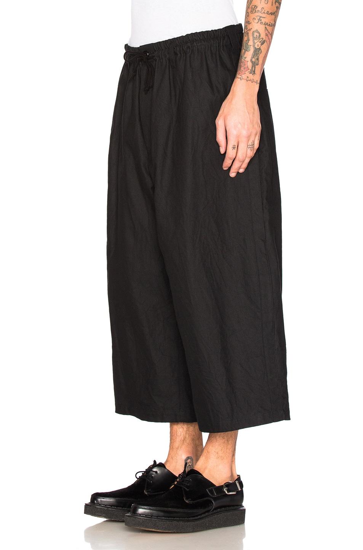 Image 2 of Yohji Yamamoto Side Tape Wide Elastic Trousers in Black