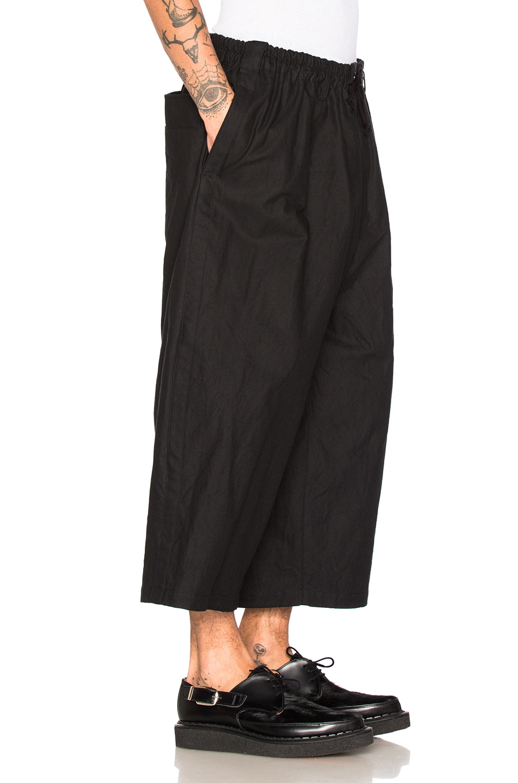 Image 3 of Yohji Yamamoto Side Tape Wide Elastic Trousers in Black