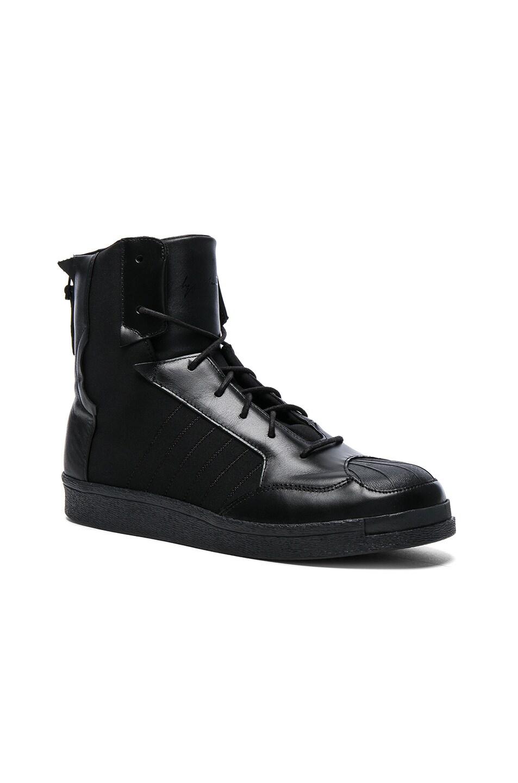 be99edfcb Image 1 of Yohji Yamamoto Neoprene Punk Superstar Sneakers in Black