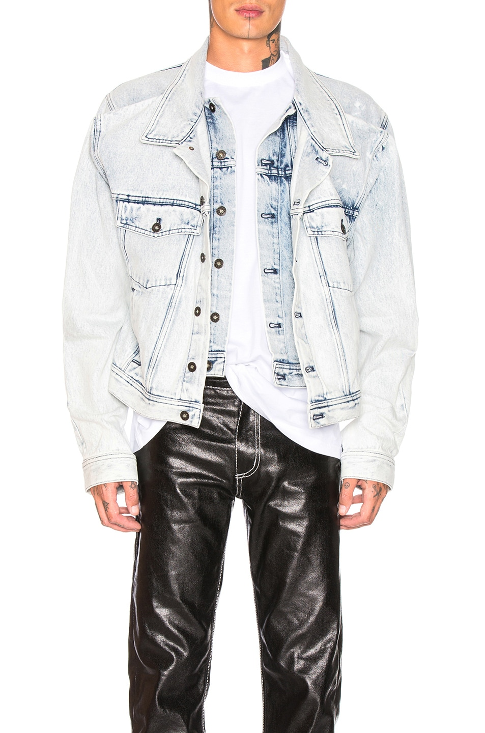 Image 1 of Y/Project Double Front Denim Jacket in White Stonewash