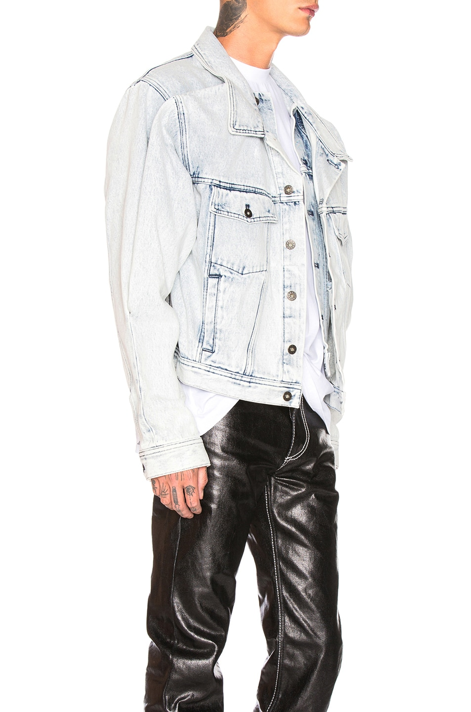 Image 3 of Y/Project Double Front Denim Jacket in White Stonewash