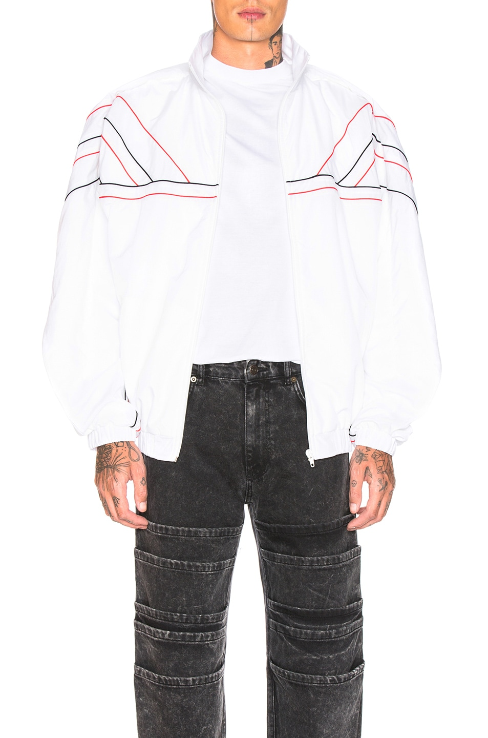 Image 1 of Y/Project Clipped Shoulder Track Jacket in White