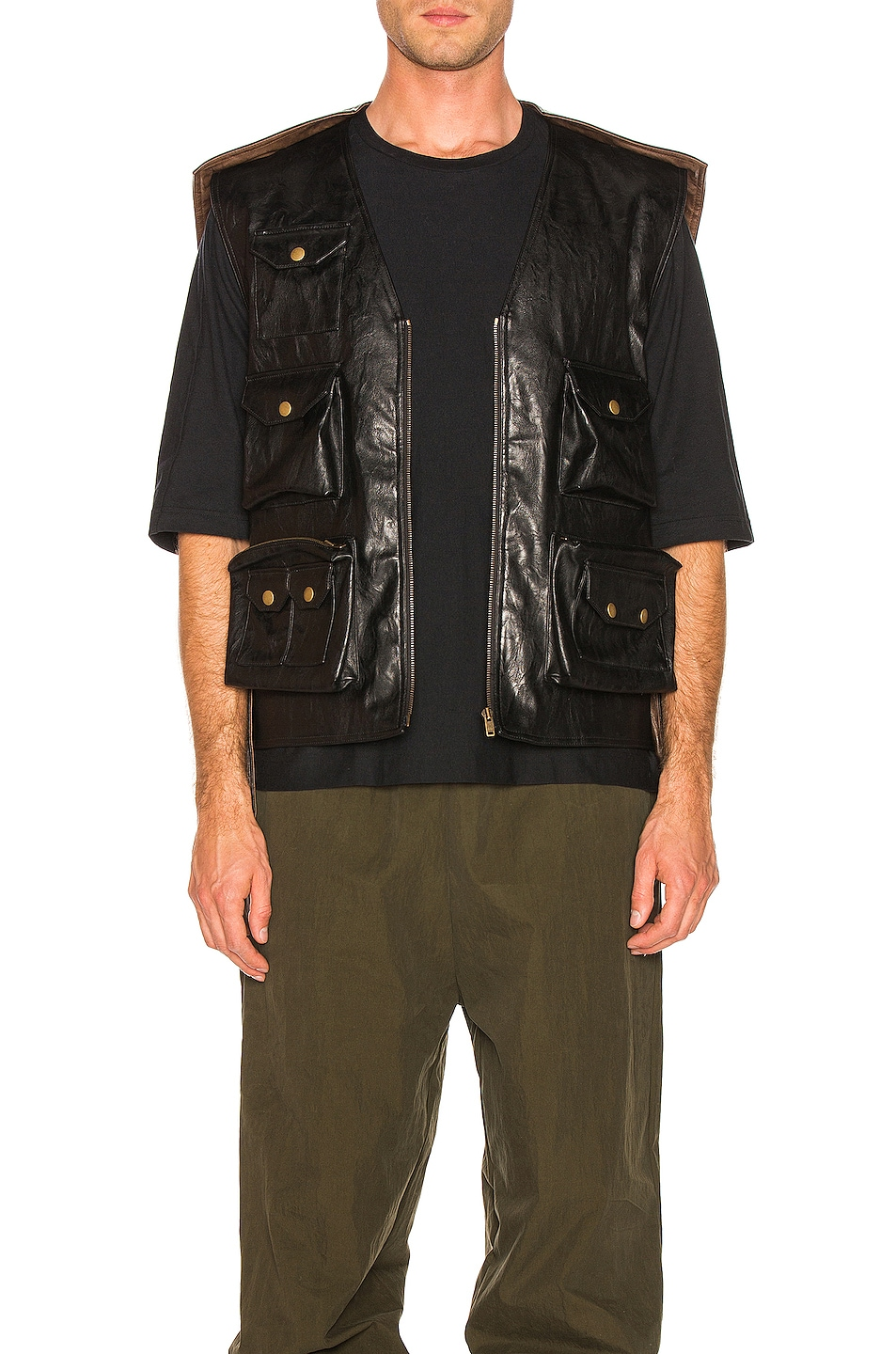 Image 1 of Y/Project Faux Leather Hunting Vest in Black