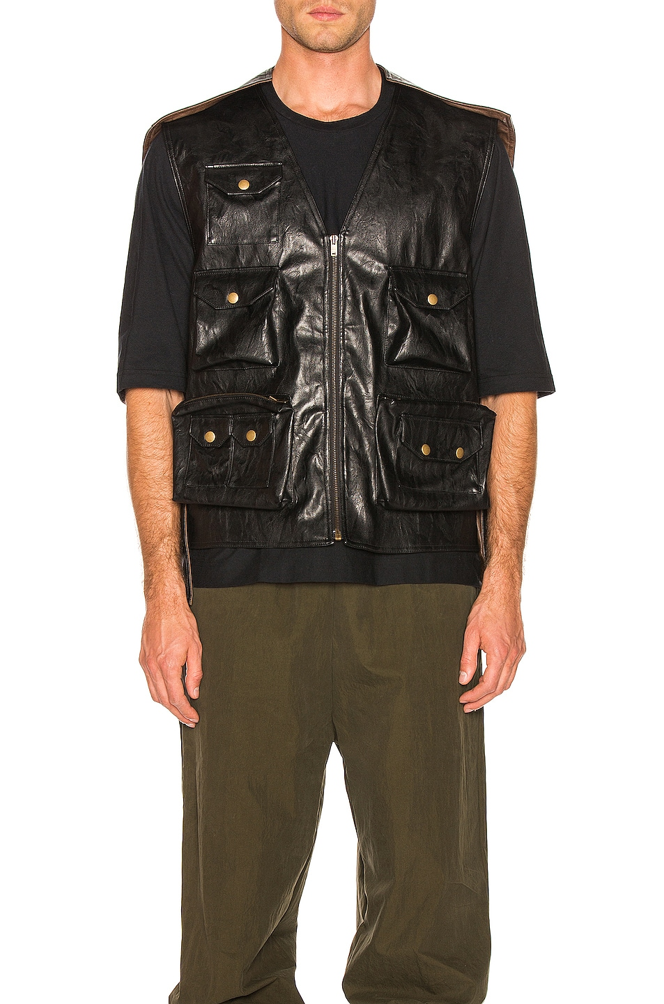 Image 2 of Y/Project Faux Leather Hunting Vest in Black
