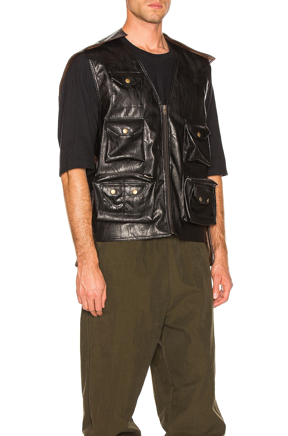 Image 3 of Y/Project Faux Leather Hunting Vest in Black