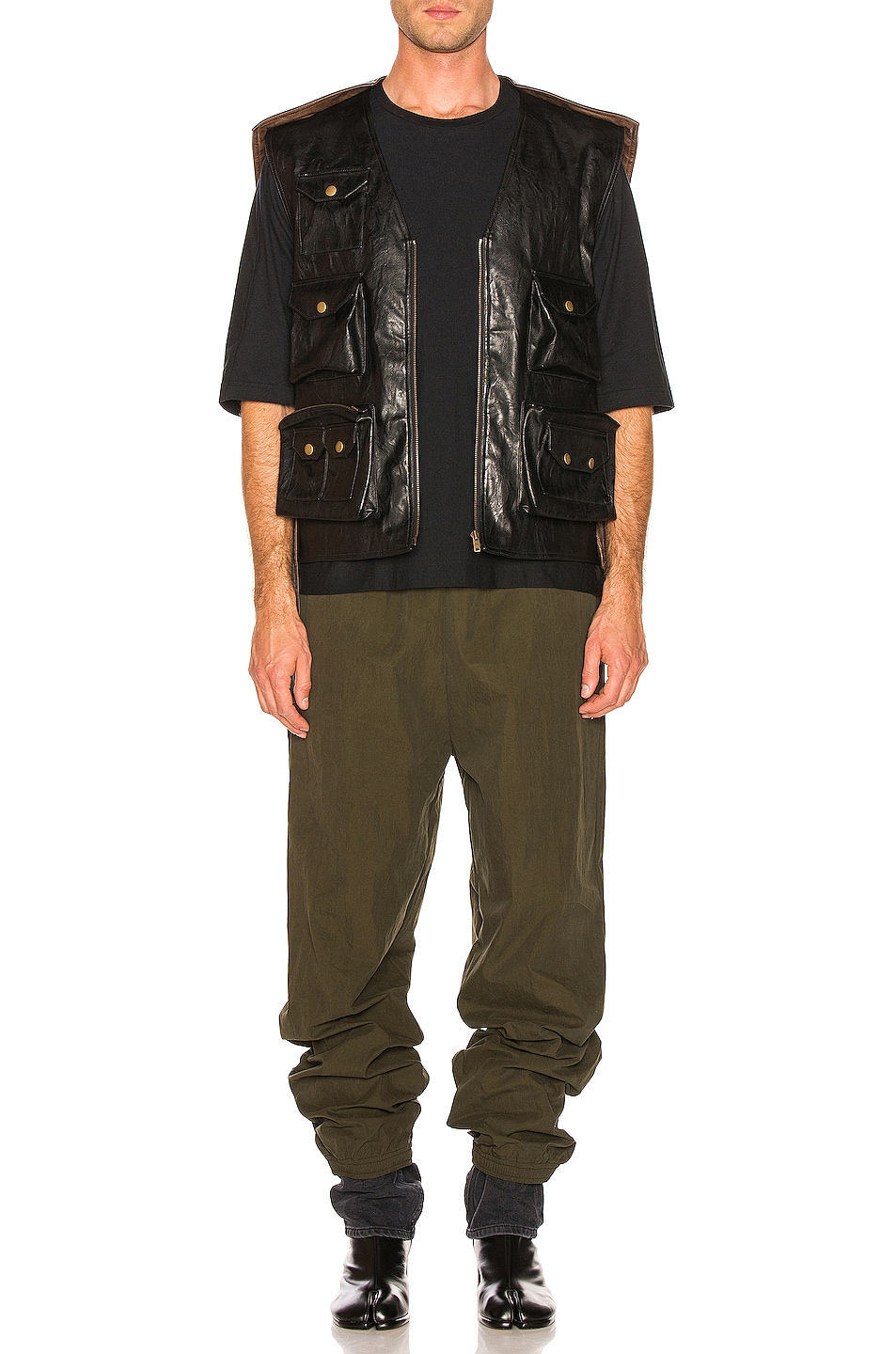 Image 5 of Y/Project Faux Leather Hunting Vest in Black