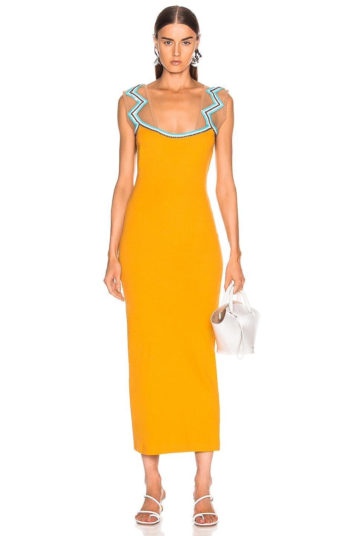 Image 1 of Y/Project Zig Zag Beaded Dress in Mustard
