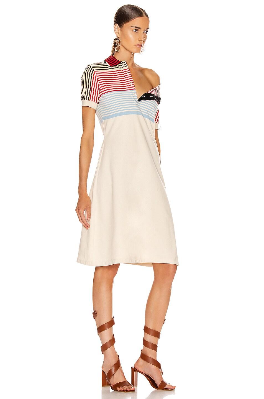 Image 3 of Y/Project Asymmetric Collar Polo Dress in Beige Stripe