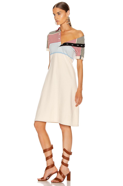 Image 4 of Y/Project Asymmetric Collar Polo Dress in Beige Stripe
