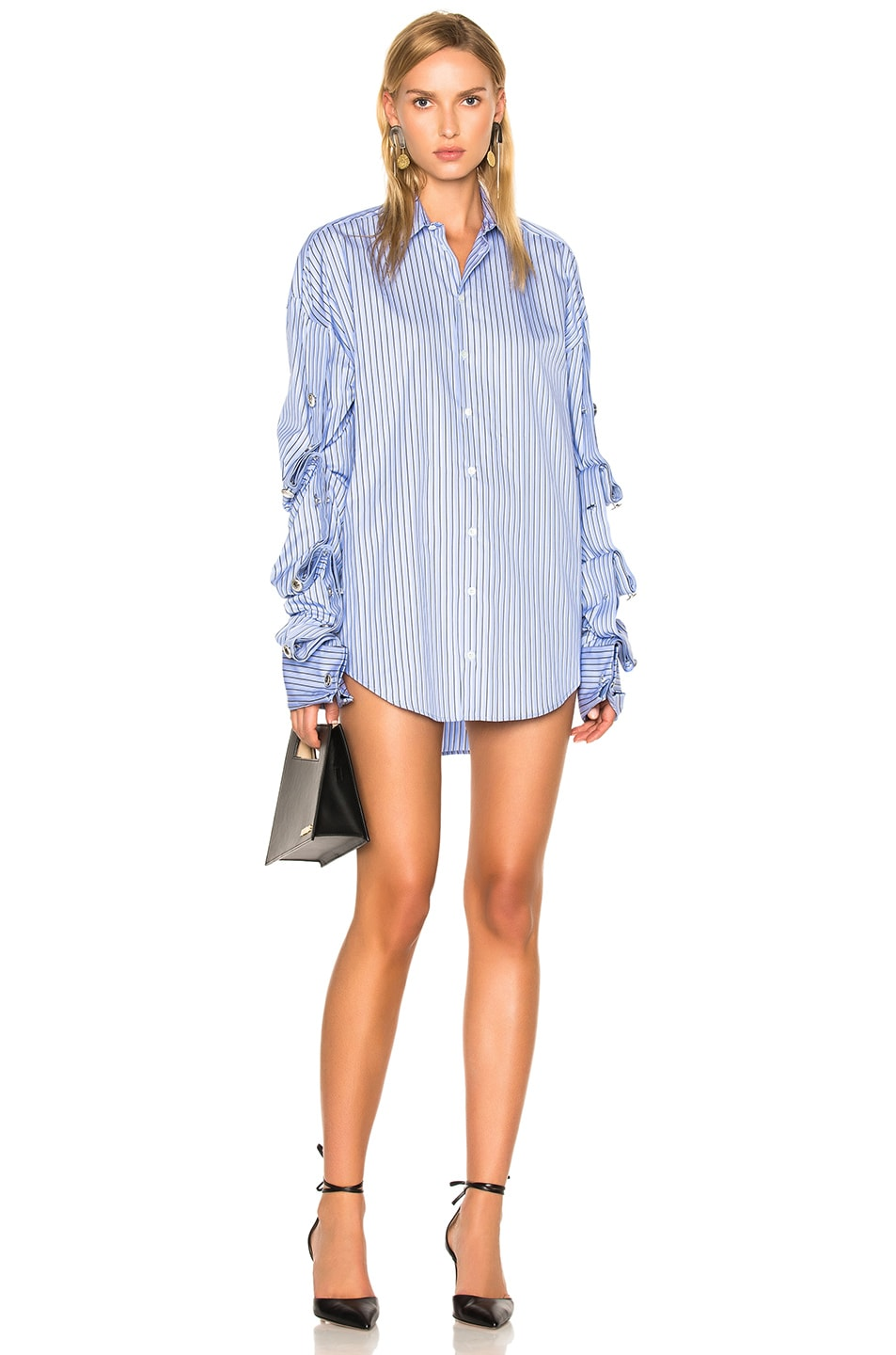 Image 1 of Y Project Button Down Dress in Blue Stripes
