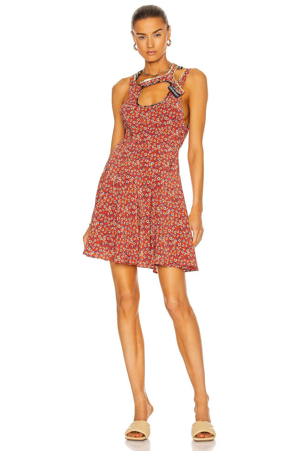 Image 1 of Y/Project Bias Y Collar Mini Dress in Red Floral