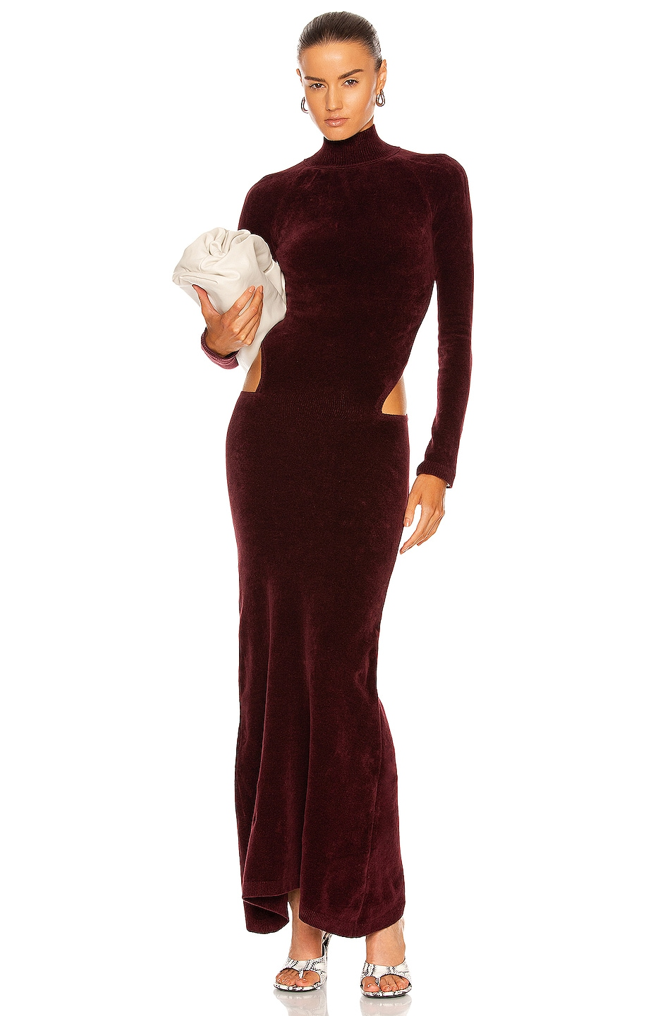 Image 1 of Y/Project Cut Out Long Dress in Bordeaux