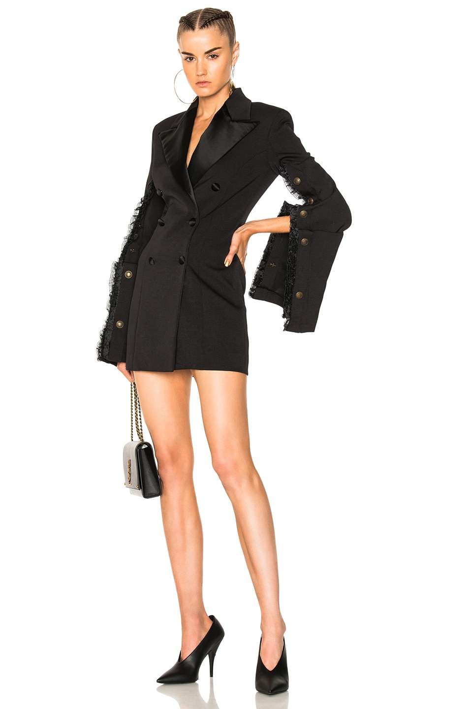 Y Project Fitted Suit Jacket Dress In Black Fwrd
