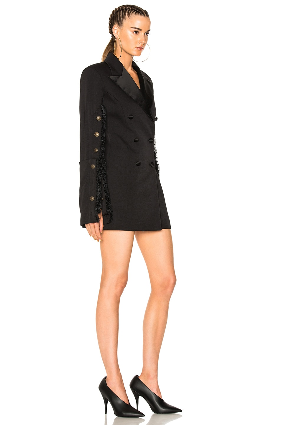 Y Project Fitted Suit Jacket Dress in Black | FWRD