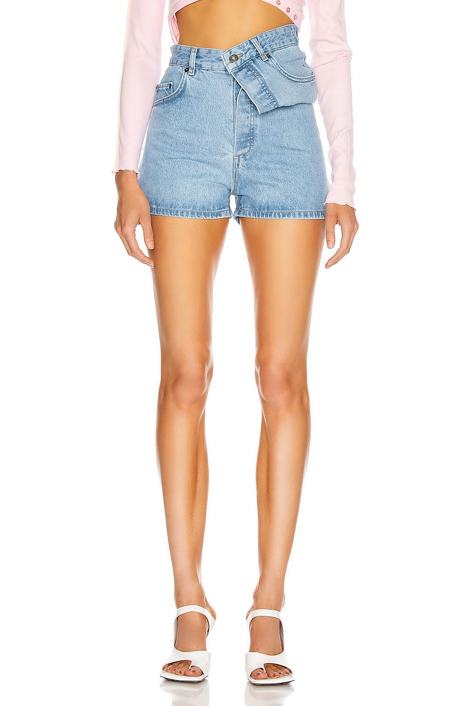Image 1 of Y/Project Asymmetric Denim Shorts in Ice Blue