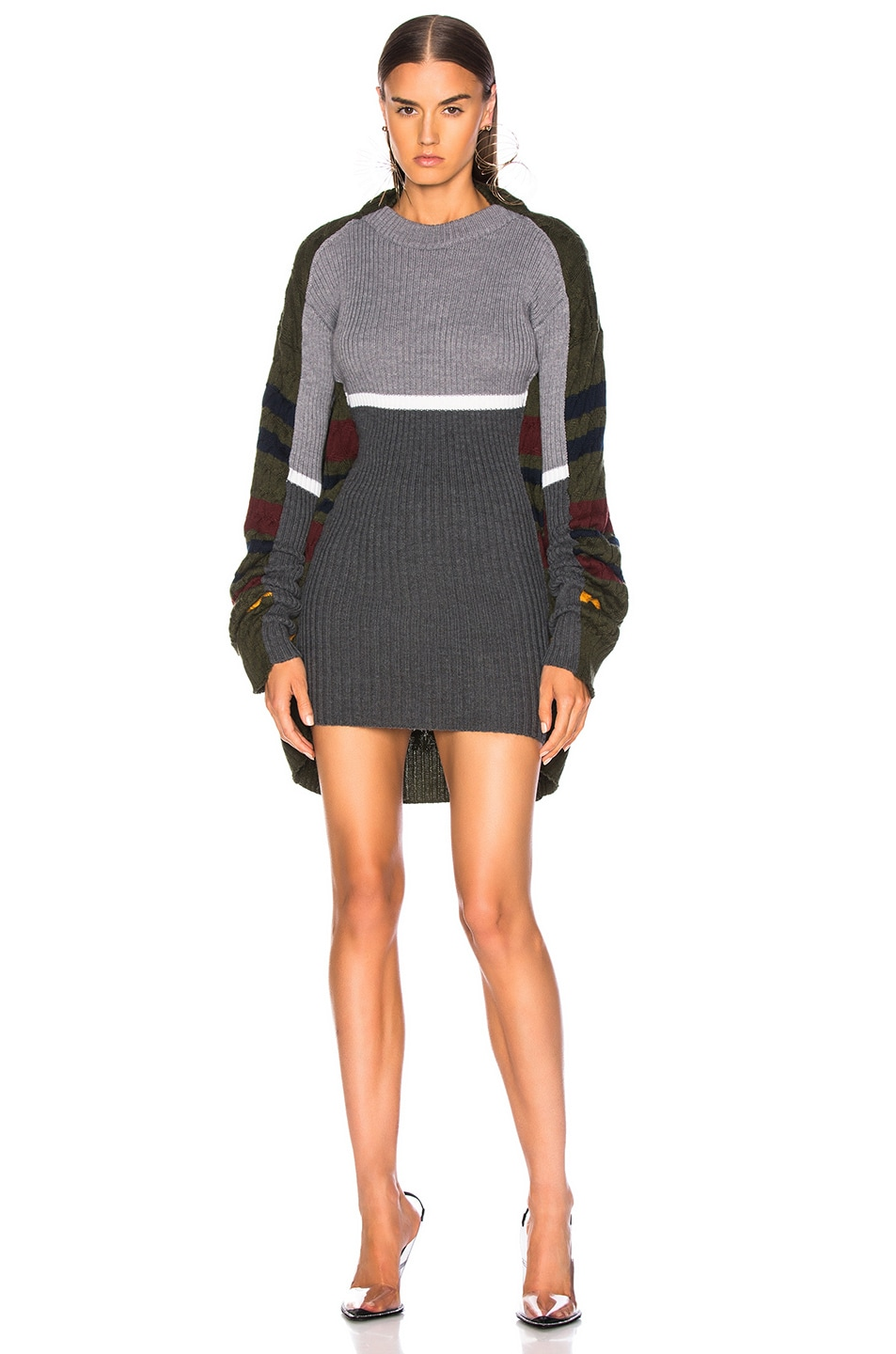 Image 1 of Y/Project Skinny Sweater in Grey & Green