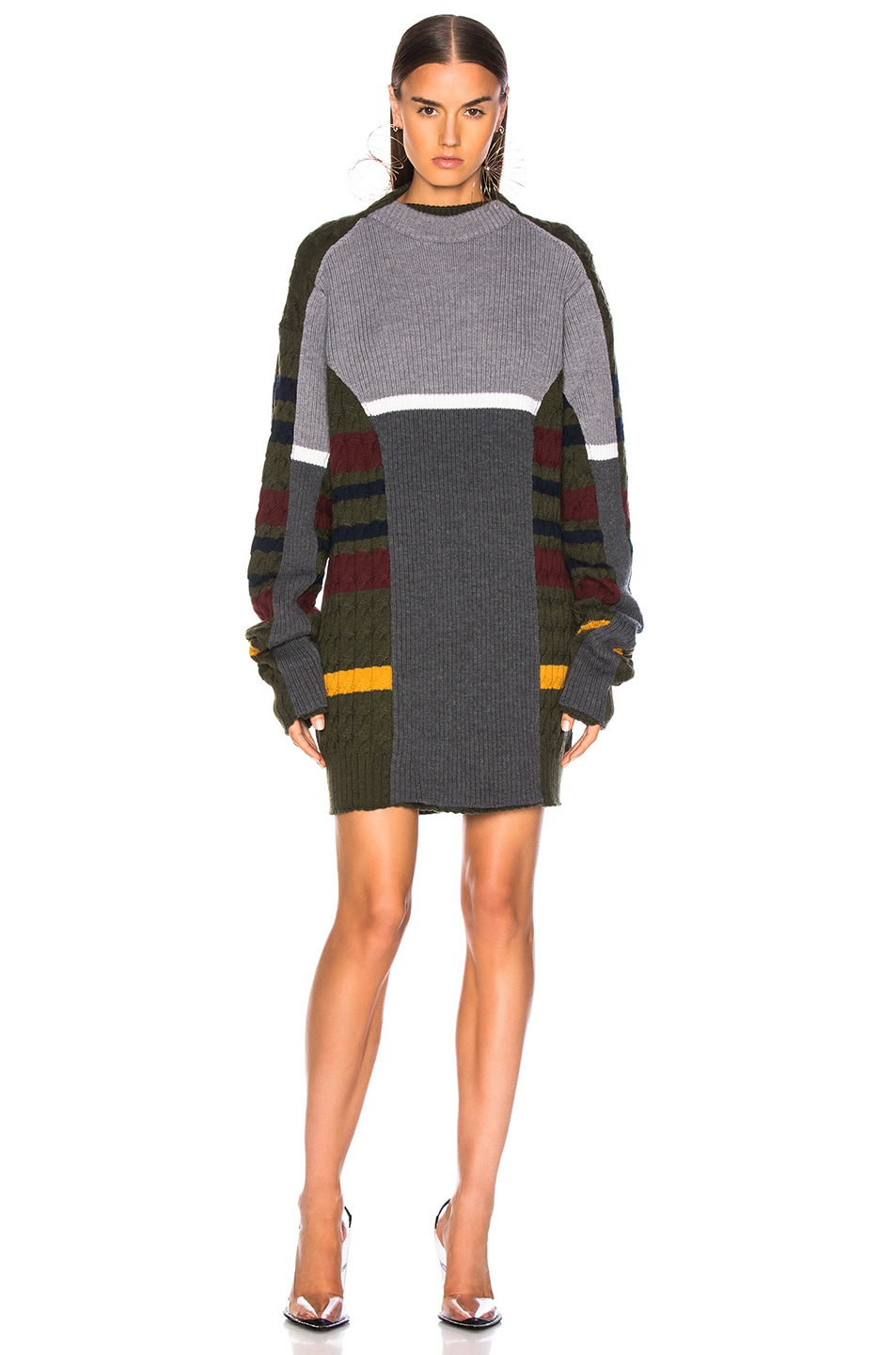 Image 2 of Y/Project Skinny Sweater in Grey & Green