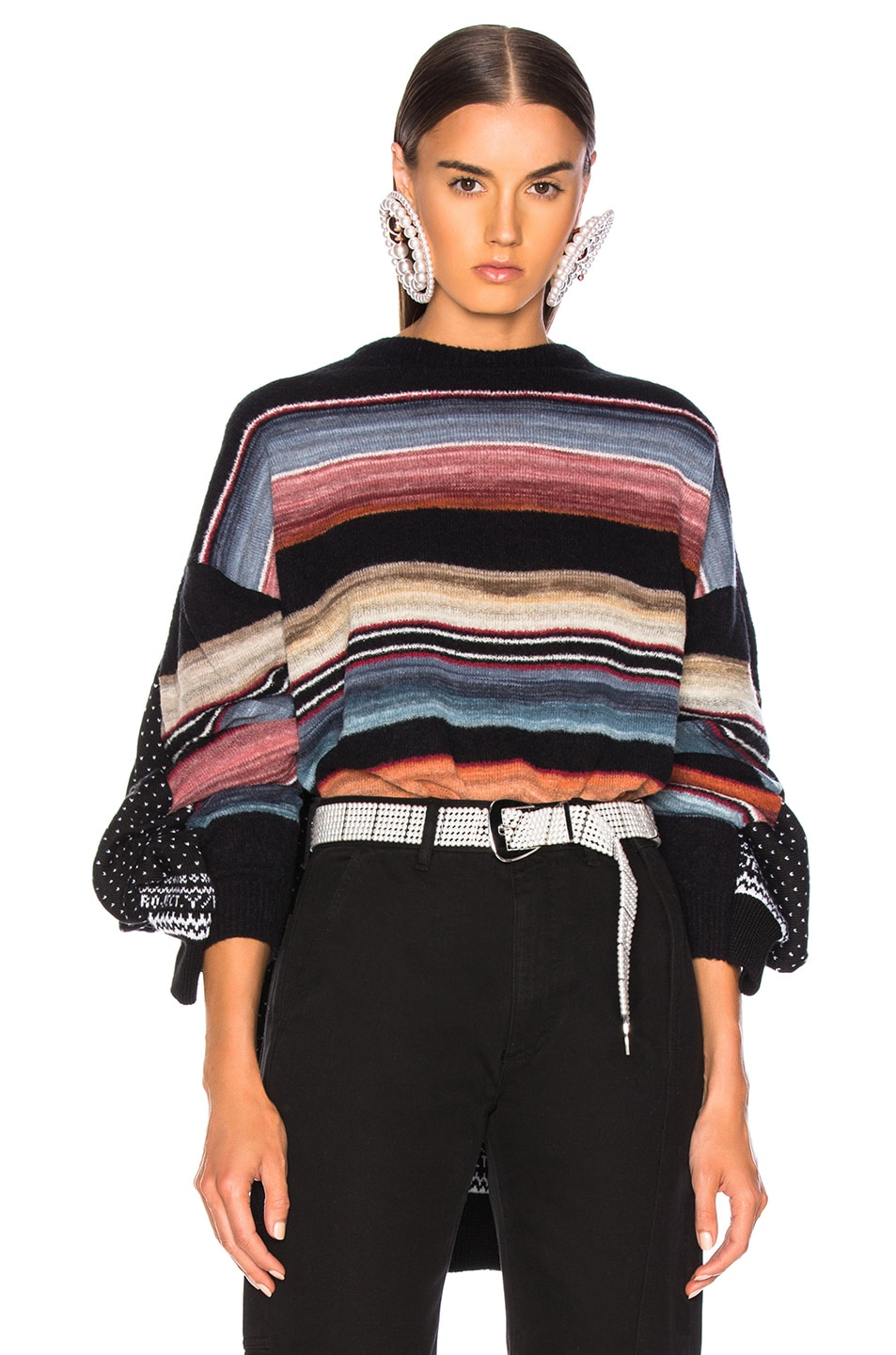 Image 1 of Y/Project Norwegian Paneled Sweater in Black