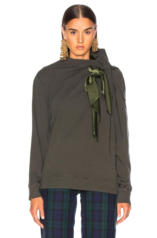 Image 2 of Y/Project Scarf Sweatshirt in Khaki
