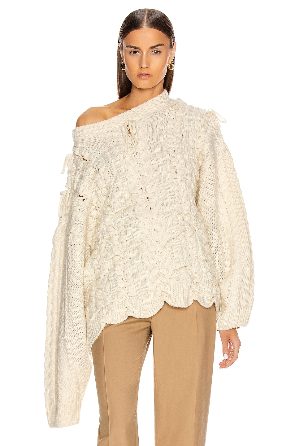 Image 2 of Y/Project Lace Up Knit Sweater in Beige