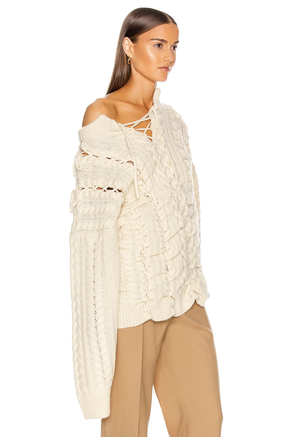 Image 3 of Y/Project Lace Up Knit Sweater in Beige