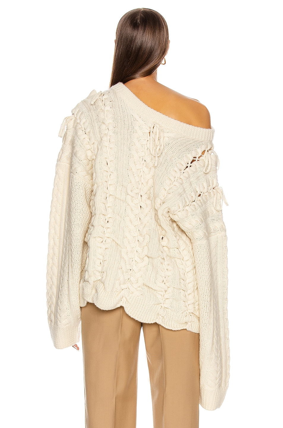 Image 5 of Y/Project Lace Up Knit Sweater in Beige