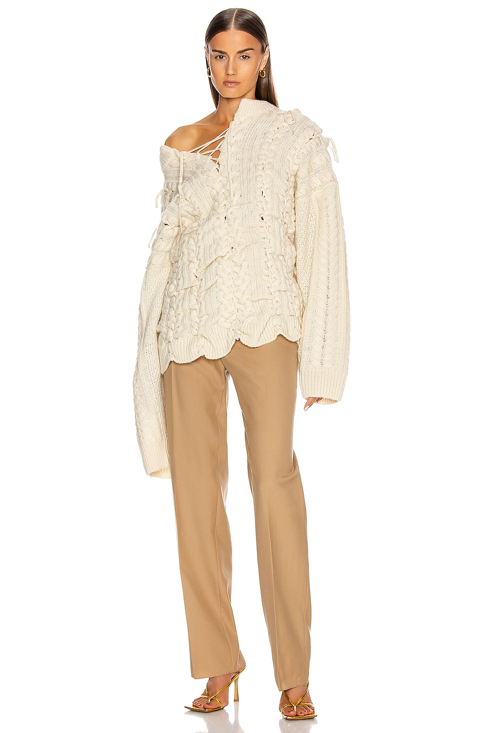Image 6 of Y/Project Lace Up Knit Sweater in Beige