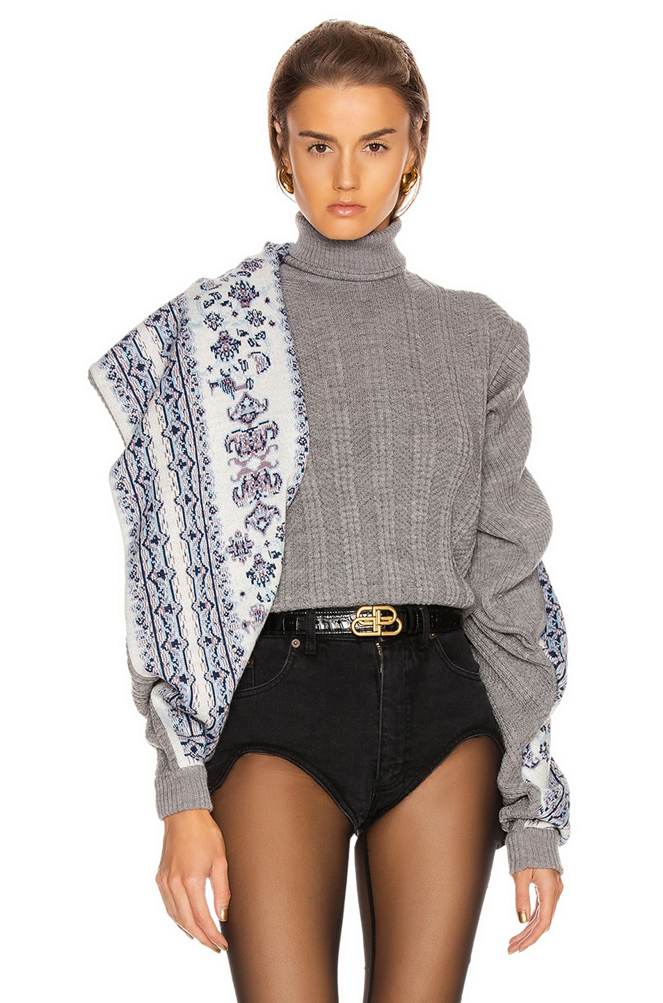 Image 1 of Y/Project Scarf Panel Sweater in Grey
