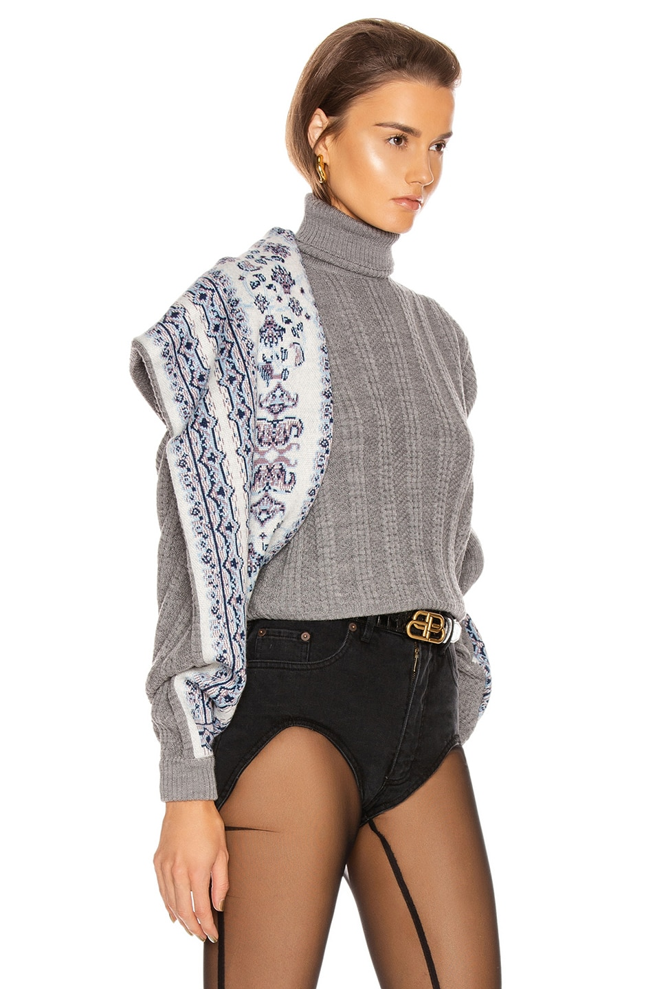 Image 2 of Y/Project Scarf Panel Sweater in Grey