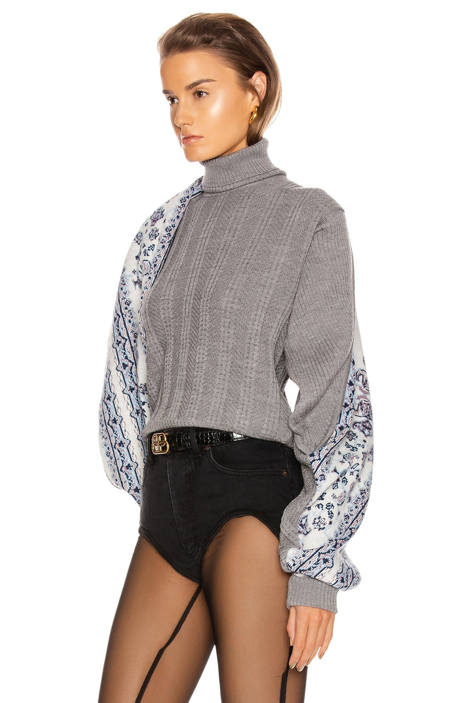 Image 3 of Y/Project Scarf Panel Sweater in Grey