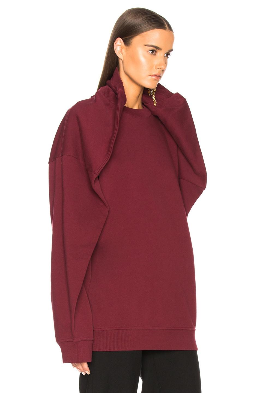 Image 2 of Y/Project Oversized Shoulder Sweatshirt in Bordeaux