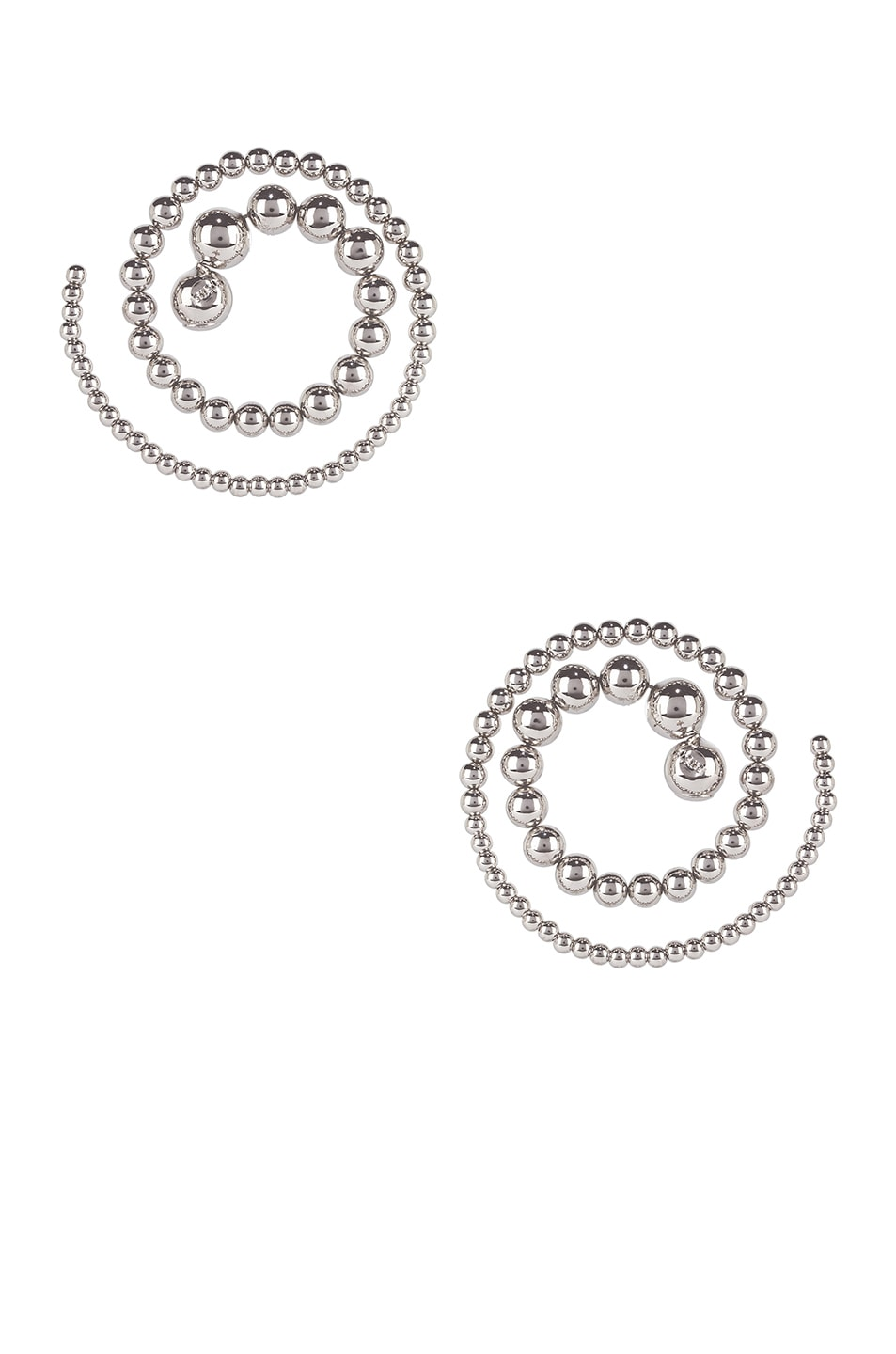 Image 3 of Y/Project Pearl Spiral Earrings in Silver